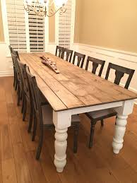 diy farmhouse table my husband made my 10 foot 8 inch farmhouse table top made with shiplap i painted and distressed it legs and a ordered from