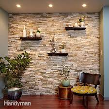 create a faux stone accent wall