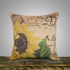Etsy Throw Pillows Sunflower Pillow Cover Burlap Pillow Cushion Throw Pillow