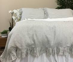 ruffled pinstripe duvet cover in grey and white natural linen bedding ideas grey and white striped ruffle duvet cover