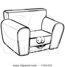 cartoon sofa chair. Couch Clipart Black And White Cartoon Sofa Chair