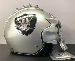 Raider Youth Helmet Sizing Chart Oakland Raiders Football Custom Skull Motorcycle Helmet Silver Size Xl Ebay