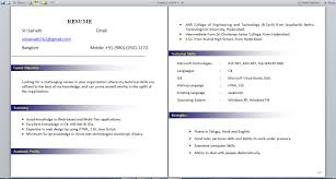 Resume Format For 1 Year Experience Dot Net Developer Awesome