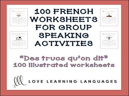 GCSE FRENCH: 100 French worksheets for group speaking activities ...
