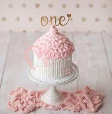 1x Glitter Gold Silver One Cake Topper 1st Birthday Baby Girl Boy