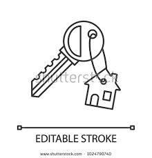house key outline. Key With Trinket House Linear Icon. Thin Line Illustration. Real Estate. Contour Symbol Outline