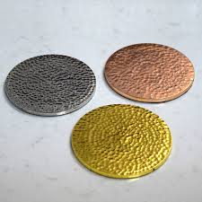 copper gold and silver hammered drinks coasters by pushka home