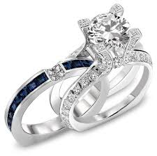 discount diamond wedding ring sets. perfect diamond sapphire wedding ring with original gemstones and wthite gold band discount sets