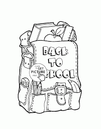 Small Picture Back to School Backpack coloring page for kids school coloring