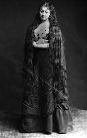 circa 1890 mrs frton proudly displays her very long hair photo by hulton