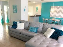 Grey White And Turquoise Living Room