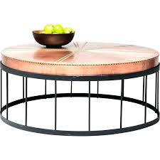 round copper coffee table rivet design marble legs