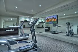 home gym lighting. mirror tv with contemporary semi home gym and wall shelves lighting