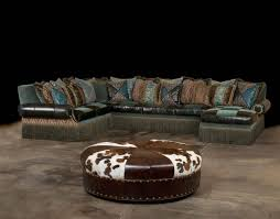 Cool Aqua Fabric And Leather Sectional pertaining to High End Leather  Sectional Sofa (Image 1