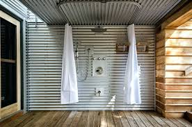 industrial shower curtain curved shower curtain patio industrial with corrugated metal ceiling lever handles industrial shower