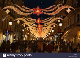 Decorations In Spain Calle Larios With Christmas Decorations Malaga Spain Stock Photo