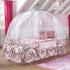 amazing design of the princess canopy bed with white silk curtain