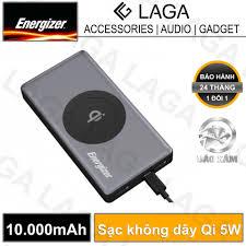 Pin sạc dự phòng Energizer 10000mAh tích hợp sạc không dây Qi 5W - QE10000  - Hãng phân phối chính thức: Mua bán trực tuyến Pin sạc dự phòng với giá rẻ