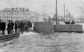 Краткая история наводнений в Санкт Петербурге Городской маршрут  У Горного института во время наводнения 18 октября 1967 года