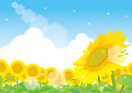 フリーイラスト ひまわり畑と夏空の風景でアハ体験 Gahag 著作権