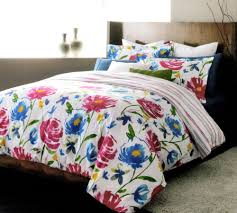 lj home fashions piccadilly reversible fl stripe duvet cover set 3 piece queen white blue pink green