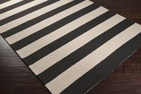 black and white striped outdoor rug