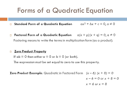 forms of a quadratic equation standard form of a quadratic equation ax² bx