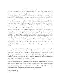 developing speaking skills essay  developing speaking skills essay 1 developing speaking skillsduring my experience as an english teacher i ve seen that many studentshave