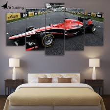 Race Car Room Decor Hd Printed 5 Piece Canvas Art Red Race Car Painting Living Room