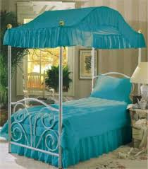 Solid Turquoise Twin Canopy Top Fabric Bed Bedroom purple light purple canopy  bed fabric canopy bedroom