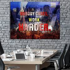 inspirational wall art for office. Modren Office Nobody Care Work Harder Motivational Inspirational Canvas Office Wall Art  Wooden Frame Ready To Hang For