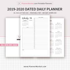 Daily Planner Template 2020 2019 2020 Dated Daily Planner Printable 18 Month Planner Daily Agenda Half Hour Filofax A5 A4 Letter Size Planner Inserts