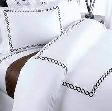 com duvet cover egyptian cotton luxury hotel white embroidered brown pattern full queen double size 5 piece with euro shams pillowcases set home