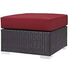 EFD Rattan Wicker Ottoman with Cushion Espresso ... - Amazon.com