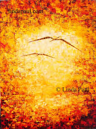 abstract painting of ocean birds sunset
