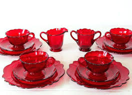 red glassware vintage depression glass set of ruby cream sugar cups plates mid century art red glassware