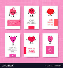 Valentines Day Cards With Cute Heart Characters