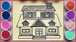 TÔ MÀU TRANH CÁT NGÔI NHÀ 2 TẦNG GIÀU CÓ - Colors sand painting house art  toys (Chim Xinh) - Dạy tô màu và vẻ tranh ảnh xinh nhất - Kho gấu