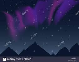 Purple Pink Northern Lights Vector Aurora Borealis Illustration Of Night Lanscape With