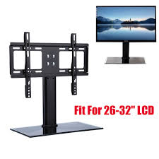 universal tabletop tv stand bracket black glass base vesa mount monitor riser wa