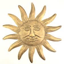 decorative metal sun face wall hanging bronze colored 15