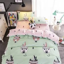 animal bedding set dog printed kids bedspread green and pink duvet cover twill soft cotton bed