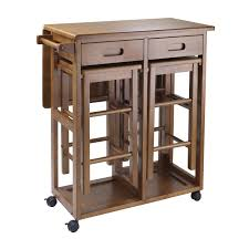 dining table with wheels: portable kitchen island with drop leaf dining table double drawers wheels and  srectangular wooden stools storage ideas