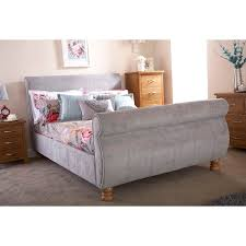 grey upholstered sleigh bed. Chicago Upholstered Sleigh Bed Double With Bedmaster Pine Rest Quilted Mattress Grey