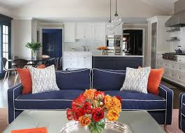 Blue Linen Sofa with Orange Pillows view full size