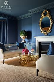 Navy Blue Living Room Delectable Chic Living Room Blue Room Blue Walls Gold Mirror Gold Table