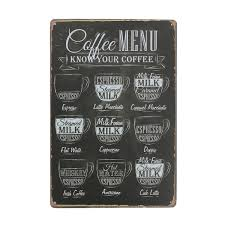 coffee sheet metal drawing metal painting tin cafe wall tavern poster sign