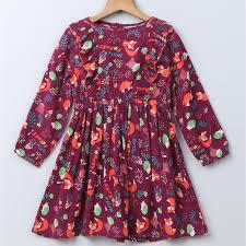 Beebay Size Chart Fox Print Frill Dress Maroon Infants