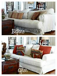 couch slipcovers before and after. Modren Couch Comfort Works Custom Ekeskog Slipcover Before U0026 After In Herringbone Ivory Intended Couch Slipcovers And R