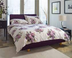 white and purple bedding